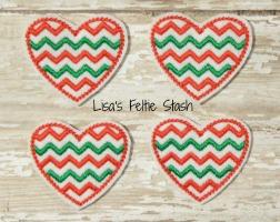 Chevron Christmas Hearts